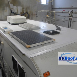 Truck-camper-with-solar-panels-and-FlexArmor-rv-roof-applied